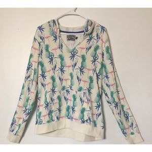Volcom flamingos and pineapples hoodie pullover